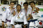 Naohisa Takato (JPN), Matheus Machado (BRA), Song-Chul Heyon (PRK), Beka Tugushi (GEO) - Cadet World Championships Budapest (2009, HUN) - © IJF Media Team, International Judo Federation