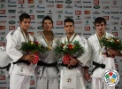 Jae-Bum Kim (KOR), Srdjan Mrvaljevic (MNE), Leandro Guilheiro (BRA), Sergiu Toma (UAE) - World Championships Paris (2011, FRA) - © IJF Media Team, International Judo Federation