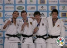 Ole Bischof (GER), Antonio Ciano (ITA), Keita Nagashima (JPN), Sergiu Toma (UAE) - Grand Slam Paris (2012, FRA) - © IJF Media Team, International Judo Federation