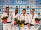 Teddy Riner (FRA), Rafael Silva (BRA), SungMin Kim (KOR), Abdullo Tangriev (UZB) - Grand Slam Paris (2012, FRA) - © IJF Media Team, International Judo Federation
