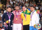 Hiroaki Hiraoka (JPN), Arsen Galstyan (RUS), Felipe Kitadai (BRA), Rishod Sobirov (UZB) - Olympic Games London (2012, GBR) - © IJF Media Team, International Judo Federation
