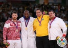 Teddy Riner (FRA), Alexander Mikhailin (RUS), Rafael Silva (BRA), Andreas Toelzer (GER) - Olympic Games London (2012, GBR) - © IJF Media Team, International Judo Federation