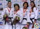Gyeong-Mi Jeong (KOR), Victoriia Turks (UKR), Mi-Young Choi (KOR), Annika Heise (GER) - Grand Prix Jeju (2013, KOR) - © IJF Media Team, International Judo Federation