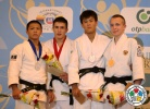 Hifumi Abe (JPN), Koba Mchedlishvili (GEO), Pavel Ershov (RUS), Didar Khamza (KAZ) - Cadet World Championships Miami (2013, USA) - © IJF Media Team, International Judo Federation