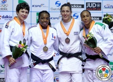 Laura Vargas Koch (GER), Lior Wildikan (ISR), Assmaa Niang (MAR), Gévrise Emane (FRA) - Grand Prix Jeju (2014, KOR) - © IJF Media Team, International Judo Federation