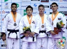 Chang-Rim An (KOR), Sagi Muki (ISR), Rustam Orujov (AZE), Dirk Van Tichelt (BEL) - Grand Prix Jeju (2014, KOR) - © IJF Media Team, International Judo Federation