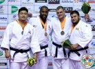 Teddy Riner (FRA), SungMin Kim (KOR), Maciej Sarnacki (POL), Vladut Simionescu (ROU) - Grand Prix Jeju (2014, KOR) - © IJF Media Team, International Judo Federation