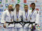 Jasper Lefevere (BEL), Alim Gadanov (RUS), Tal Flicker (ISR), Adrian Gomboc (SLO) - Grand Prix Zagreb (2014, CRO) - © IJF Media Team, International Judo Federation