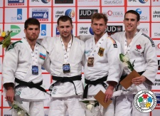 Dzmitry Shershan (BLR), Tarlan Karimov (AZE), Sebastian Seidl (GER), Patrick Gagné (CAN) - Grand Slam Abu Dhabi (2014, UAE) - © IJF Media Team, International Judo Federation