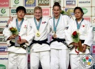 Kayla Harrison (USA), Ruika Sato (JPN), Shori Hamada (JPN), Anamari Velensek (SLO) - Grand Slam Tokyo (2014, JPN) - © IJF Media Team, International Judo Federation