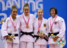 Szabina Gercsák (HUN), Stefania Dobre (ROU), Michaela Polleres (AUT), Jennifer Schwille (GER) - Youth Olympic Games Nanjing (2014, CHN) - © IJF Media Team, International Judo Federation