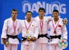 Hifumi Abe (JPN), Bogdan Iadov (UKR), Sukhrob Tursunov (UZB), Zhiqiang Wu (CHN) - Youth Olympic Games Nanjing (2014, CHN) - © IJF Media Team, International Judo Federation