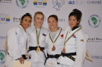 Ekaterina Valkova (RUS), Rizlen Zouak (MAR), Leilani Akiyama (USA), Stéfanie Tremblay (CAN) - African Open Port Louis (2015, MRI) - © African Judo Union