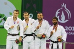 Kirill Denisov (RUS), Varlam Liparteliani (GEO), Ilias Iliadis (GRE), Guillaume Elmont (NED) - European Games Baku (2015, AZE) - © Emir Incegul, Turkish Judo Federation