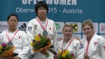 Mami Umeki (JPN), Shori Hamada (JPN), Kerstin Teichert (GER), Gemma Gibbons (GBR) - European Open Oberwart (2015, AUT) - © JudoInside.com, judo news, results and photos