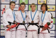 Mareen Kraeh (GER), Maria Ertl (GER), Laura Gómez (ESP), Joana Ramos (POR) - Grand Prix Budapest (2015, HUN) - © JudoInside.com, judo news, photos, videos and results