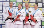Kayla Harrison (USA), Anamari Velensek (SLO), Marhinde Verkerk (NED), Luise Malzahn (GER) - Grand Prix Budapest (2015, HUN) - © JudoInside.com, judo news, photos, videos and results