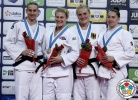 Kayla Harrison (USA), Anamari Velensek (SLO), Marhinde Verkerk (NED), Luise Malzahn (GER) - Grand Prix Budapest (2015, HUN) - © IJF Media Team, International Judo Federation