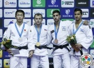 Mikhail Puliaev (RUS), Taroh Fujisaka (JPN), Tal Flicker (ISR), Golan Pollack (ISR) - Grand Prix Jeju (2015, KOR) - © IJF Media Team, International Judo Federation