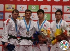 Georgii Zantaraia (UKR), Dzmitry Shershan (BLR), Tumurkhuleg Davaadorj (MGL), Kengo Takaichi (JPN) - IJF World Masters Rabat (2015, MAR) - © IJF Media Team, International Judo Federation