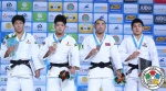 Shohei Ono (JPN), Riki Nakaya (JPN), Chang-Rim An (KOR), Nyam-Ochir Sainjargal (MGL) - World Championships Astana (2015, KAZ) - © IJF Media Team, International Judo Federation