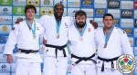 Teddy Riner (FRA), Ryu Shichinohe (JPN), Adam Okruashvili (GEO), Iakiv Khammo (UKR) - World Championships Astana (2015, KAZ) - © IJF Media Team, International Judo Federation