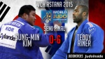 SungMin Kim (KOR), Teddy Riner (FRA) - World Championships Astana (2015, KAZ) - © IJF Media Team, International Judo Federation