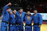 Nijat Shikhalizada (AZE), Lasha Shavdatuashvili (GEO), Vedat Albayrak (TUR), Beka Gviniashvili (GEO), Levani Matiashvili (GEO) - Golden League men Grozny (2016, RUS) - © Emir Incegul, Turkish Judo Federation