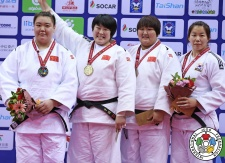 Song Yu (CHN), Sisi Ma (CHN), Jie Kang (CHN), Eun-Ju Lee (KOR) - Grand Prix Qingdao (2016, CHN) - © IJF Media Team, International Judo Federation
