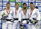 Leo Fogel (RUS), Batgerel Battsetseg (MGL), Fagan Guluzada (AZE), Khadbaatar Narankhuu (MGL) - Grand Prix Ulaanbaatar (2016, MGL) - © IJF Media Team, International Judo Federation
