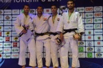 Mohamed Mohyeldin (EGY), Faye Njie (GAM), Oussama Djeddi (ALG), Omar Mahmoud (EGY) - African Championships Antananarivo (2017, MAD) - © African Judo Union