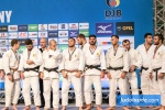 Eleftherios Marios Panagiotou (GRE), Georgios Azoidis (GRE), Athanasios Milonelis (GRE), Serafeim Tsimpikakis (GRE), David Tsokouris (GRE), Nikos Moulatze (GRE), Ushangi Margiani (GEO), David Karaklidis (GRE), Georgios Malliaropoulos (GRE) - European Club Championships Wuppertal men  (2017, GER) - © JudoInside.com, judo news, photos, videos and results