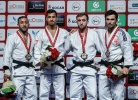 Tal Flicker (ISR), Nijat Shikhalizada (AZE), Abdula Abdulzhalilov (RUS), Vazha Margvelashvili (GEO) - Grand Slam Abu Dhabi (2017, UAE) - © IJF Media Team, International Judo Federation