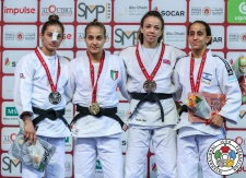 Odette Giuffrida (ITA), Majlinda Kelmendi (KOS), Gili Cohen (ISR), Chelsie Giles (GBR) - Grand Slam Abu Dhabi (2018, UAE) - © IJF Media Team, International Judo Federation