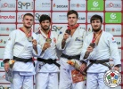 Lasha Shavdatuashvili (GEO), Akil Gjakova (KOS), Tommy Macias (SWE), Musa Mogushkov (RUS) - Grand Slam Abu Dhabi (2018, UAE) - © IJF Media Team, International Judo Federation