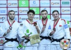 Hifumi Abe (JPN), Yakub Shamilov (RUS), Abdula Abdulzhalilov (RUS), Dzmitry Minkou (BLR) - Grand Slam Ekaterinburg (2018, RUS) - © IJF Media Team, International Judo Federation
