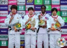 Ruika Sato (JPN), Mami Umeki (JPN), Shori Hamada (JPN), Kaliema Antomarchi (CUB) - Grand Slam Osaka (2018, JPN) - © IJF Media Team, International Judo Federation
