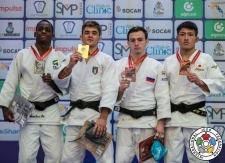 Manuel Lombardo (ITA), Michael Marcelino (BRA), Yuji Aida (JPN), Murad Chopanov (RUS) - World Championships Juniors Nassau (2018, BAH) - © IJF Media Team, International Judo Federation