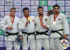 Gela Zaalishvili (GEO), Stephan Hegyi (AUT), Erik Abramov (GER), Dzhamal Gamzatkhanov (RUS) - World Championships Juniors Nassau (2018, BAH) - © IJF Media Team, International Judo Federation