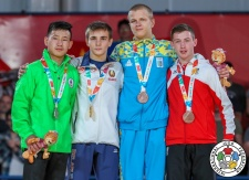 Artsiom Kolasau (BLR), Temuujin Ganburged (MGL), Oleh Veredyba (UKR), Daniel Leutgeb (AUT) - Youth Olympic Games Buenos Aires (2018, ARG) - © IJF Media Team, International Judo Federation