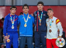 Vugar Talibov (AZE), Abrek Naguchev (RUS), Antonio Peña (ESP), Javier Pena Insausti (ESP) - Youth Olympic Games Buenos Aires (2018, ARG) - © IJF Media Team, International Judo Federation