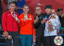 Szofi Ozbas (HUN), Alessia Corrao (BEL), Juhee Kim (KOR), Mariem Khelifi (TUN) - Youth Olympic Games Buenos Aires (2018, ARG) - © IJF Media Team, International Judo Federation